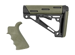 Hogue AR-15/M-16 Kit - Finger Groove Beavertail Grip and OverMolded Collapsible Buttstock - Fits Commercial Buffer Tube - OD Green Rubber
