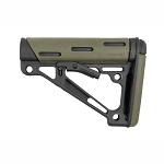 Hogue AR-15/M-16 OverMolded Collapsible Buttstock - Fits Commercial Buffer Tube - OD Green