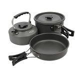 3pc Gun Metal Aluminium Kettle, Pot & Pan Set