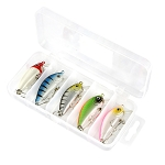 3.7g 5cm Fishing lure with No6 Hook Diving Depth 0.8m-1.2m 5 Piece Set with Box
