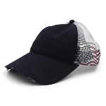 Stressed Look USA Flag Baseball Cap - Navy