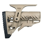 FAB Defense GLR 16 Collapsible Butt Stock for M16/AR15 w/ Adjustable Cheek Piece - Tan